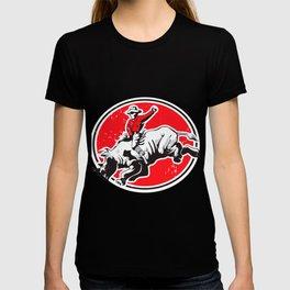 Rodeo Cowboy riding a rhino T-shirt