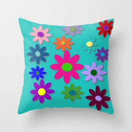 Flower Power - Teal Background - Fun Flowers - 60's Style - Hippie Syle Throw Pillow