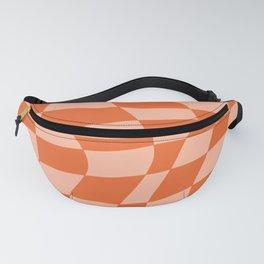 Orange twist checkered retro pattern Fanny Pack