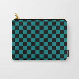 Black and Teal Green Checkerboard Carry-All Pouch