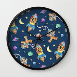 Gingerbread Astronauts Wall Clock