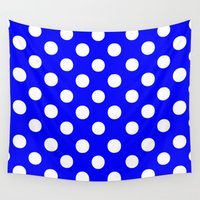 polkadot Wall Tapestries featuring Polka Dots (White/Blue) by 10813 Apparel