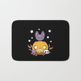 Pumpkin Cats Son // Black Bath Mat