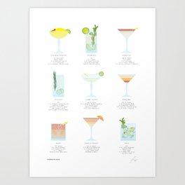 Mixology Cocktail Poster 9-pieces #1 Art Print