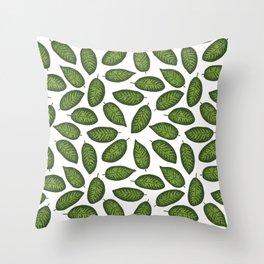 dieffenbachia leaves tropical pattern Throw Pillow
