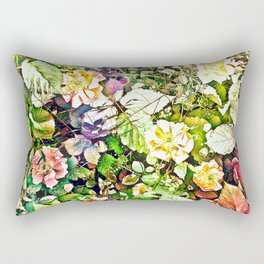 Scattered Blooms And Verdure Rectangular Pillow