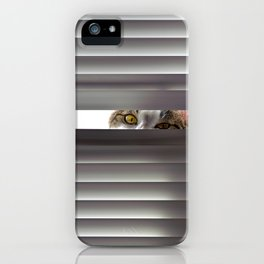 Curious cat looking through blinds iPhone Case