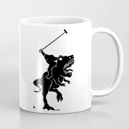 Big foot playing polo on a T-rex Coffee Mug