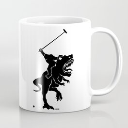 Big foot playing polo on a T-rex Coffee Mug