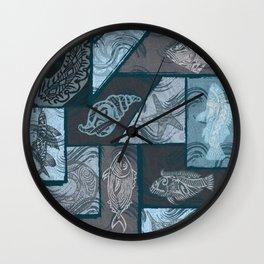 Vintage Hawaiian Tribal Fish Collage Wall Clock