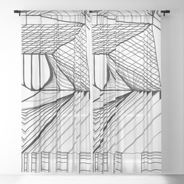 Geometric Architectural Bird - Neck Sheer Curtain