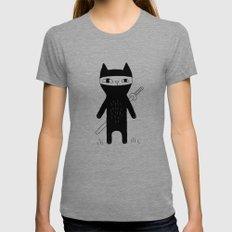 Ninja Cat Tri-Grey MEDIUM Womens Fitted Tee