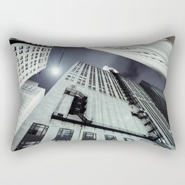 City Metropolis Towering Perspective Fire Escape Vertigo Skyrise Streetlight Rectangular Pillow