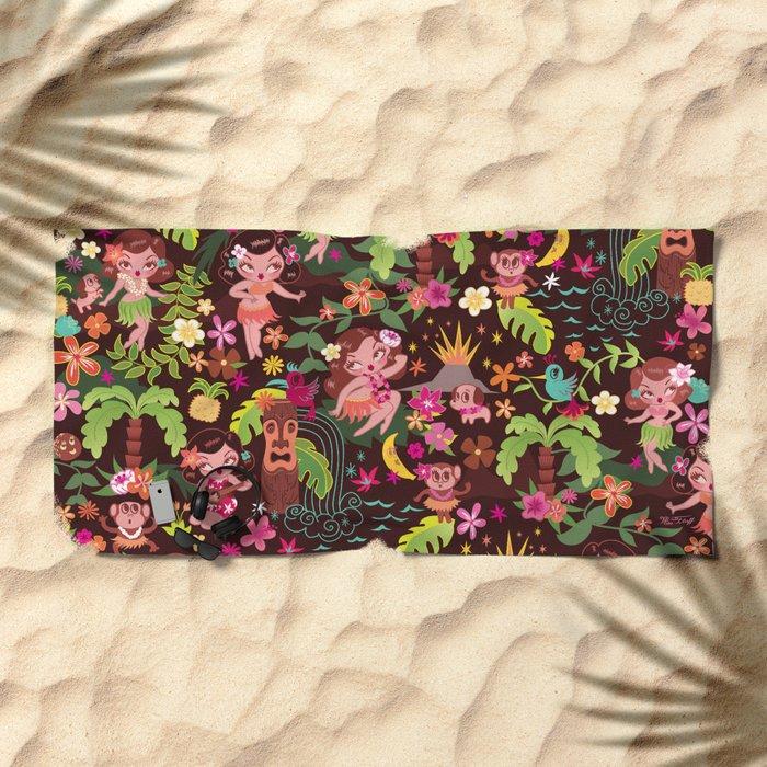 Hula Cuties Pattern Beach Towel