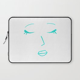 Teal Green Sleeping Beauty Minimalist Abstract Womankind Minimal Line Drawing Womans Face Laptop Sleeve