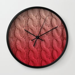 Flamingo Pink Cable Knit Wall Clock