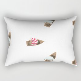 Wooden boat red-white sail Rectangular Pillow