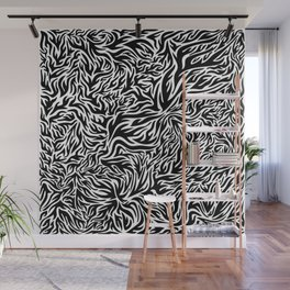 Black And White Psychedelic Flames Wall Mural