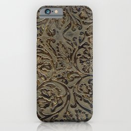 Olive & Brown Tooled Leather iPhone Case