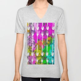 fork and spoon pattern with colorful painting abstract background Unisex V-Neck
