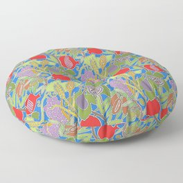 Seven Species Botanical Fruit and Grain with Blue Background Floor Pillow