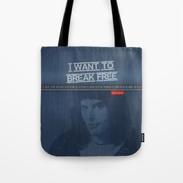 I Want To Break Free - Mercury on Blue Jeans Tote Bag