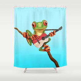 Tree Frog Playing Acoustic Guitar with Flag of Indonesia Shower Curtain