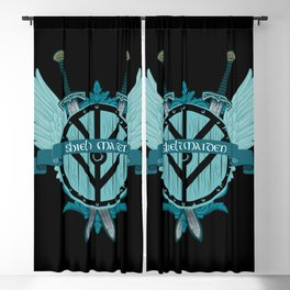 Shield Maiden Winged Teal Viking Shield Blackout Curtain
