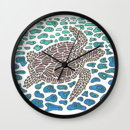 Vanishing Sea Turtle by Black Dwarf Designs Wall Clock