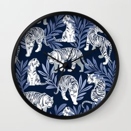 Nouveau white tigers // navy blue background blue leaves silver lines white animal Wall Clock