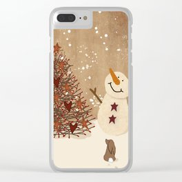 Primitive Country Christmas Tree Clear iPhone Case