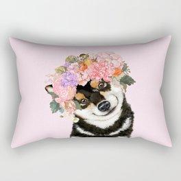 Black Shiba Inu with Flower Crown Pink Rectangular Pillow