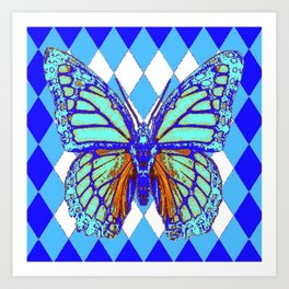 ABSTRACTED BLUE MONARCH BUTTERFLY PATTERN Art Print