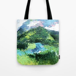 Gunnison: a vibrant acrylic mountain landscape in greens, blues, and a splash of pink Tote Bag