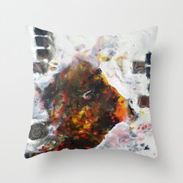 Stairway to Stasis - Mixed Media Fossil Beeswax Encaustic Abstract Modern Fine Art, 2015 Throw Pillow