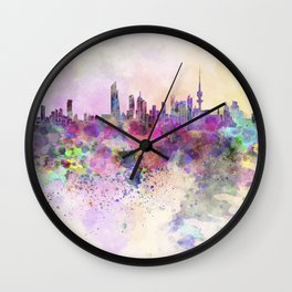 Kuwait City in watercolor background Wall Clock