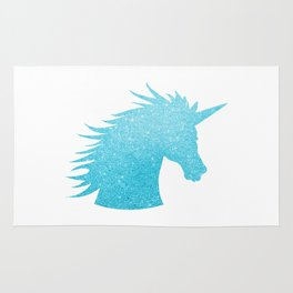 Blue Glitter Unicorn Rug