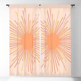 Retro Sunburst Sun Blush Orange Blackout Curtain