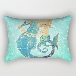 Glitter Mermaid Seahorse Rectangular Pillow