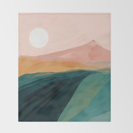 pink, green, gold moon watercolor mountains Throw Blanket