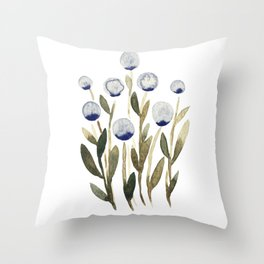 Simple watercolor flowers - olive and blue Throw Pillow