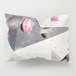 Geometric abstract free climbing gym wall boulders pink white Pillow Sham