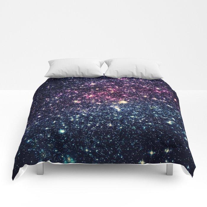 Galaxy Stars : Subtle Purple Mauve Pink Teal Comforters