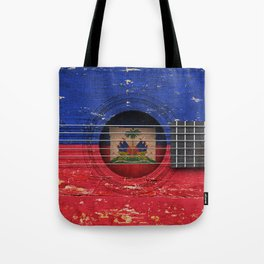 Old Vintage Acoustic Guitar with Haitian Flag Tote Bag