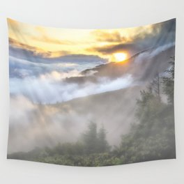 Sunrise and Dust - Mountains - Forest - Wood - Trees - Fog Wall Tapestry