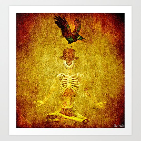 Monsieur Bone and Archibald the crow Art Print