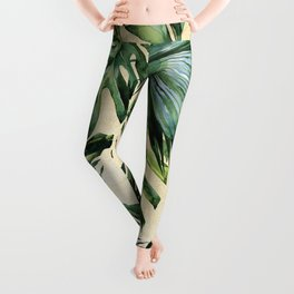 Palm Leaves Greenery Linen Leggings