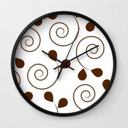 Brown Floral Swirl Pattern Wall Clock