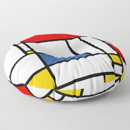 Mondrian color pattern Geometric Red Yellow Blue Floor Pillow