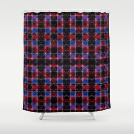 Cart Handle Semi-Plaid In Red, Pink, Blue, and Black Shower Curtain